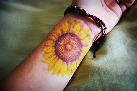 sunflower wrist tattoo sunflower on wrist