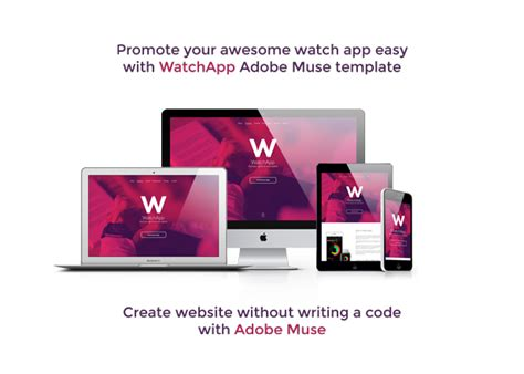 adobe muse mobile templates watchapp smart app promo muse template muse
