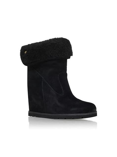 ugg boots wedge heel ugg kyra wedge heel boots with fur cuff black house of