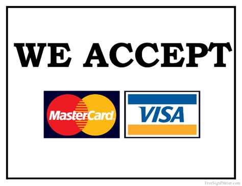 printable we accept mastercard and visa sign