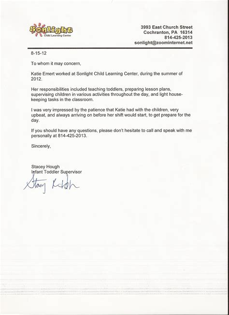 Recommendation Letter Kindergarten Student References M Emert Education Portfolio