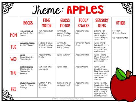 kindergarten themes for september tot school apples tot school preschool plans and