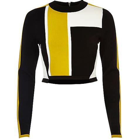 Block Crop Cc 1 black colour block knit crop top ri limited edition sale