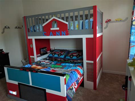 ana white fire station  fire truck bunk bed diy