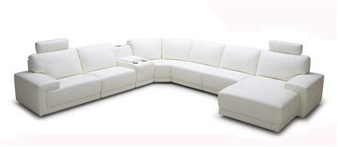 Modern White Leather Sofa Divani Casa Cypress Modern White Eco Leather Sectional Sofa With Headrests And Beverage Console