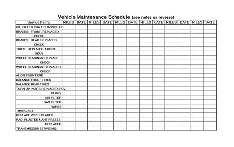 vehicle vehicle maintenance log template maintenance log template