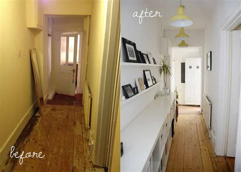 Kitchen Yellow Walls White Cabinets by Our Before And After Hallway Makeover Modern Maggie