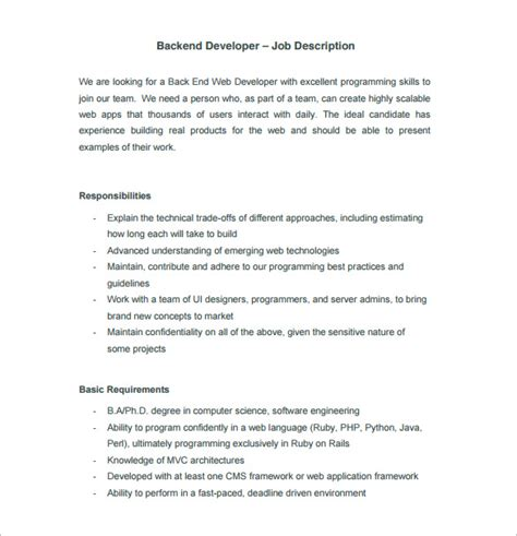 app design job description 11 web developer job description templates free sle