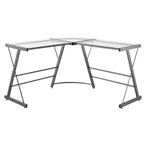 Glass Table L Shades Executive L Shaped Glass Top Desk Grey Altra Target