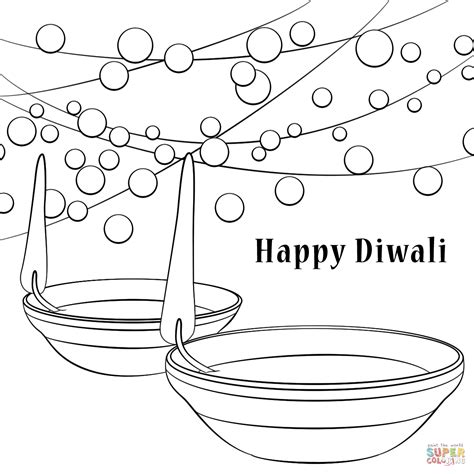 happy diwali coloring page free printable coloring pages