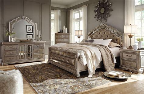 birlanny silver upholstered panel bedroom set  ashley coleman furniture