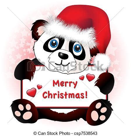 christmas panda  heart banner  cute cartoon panda wearing  santa hat holding  banner