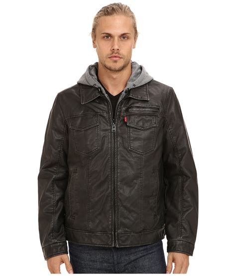 Jacket Levis Hoodie levis faux leather two pocket hoodie trucker jacket shipped free at zappos