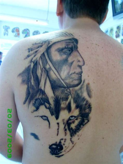 gray wash tattoo designs grey wash indian wolf back portrait