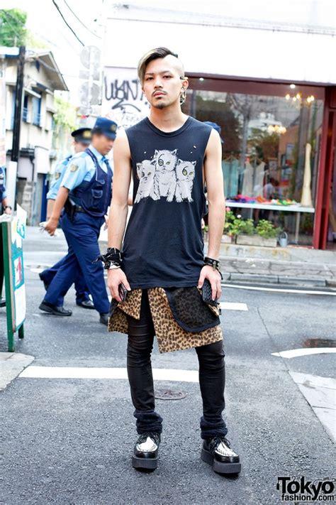 Jaket Pria Rocker Black harajuku rocker in evil kitties top leopard print