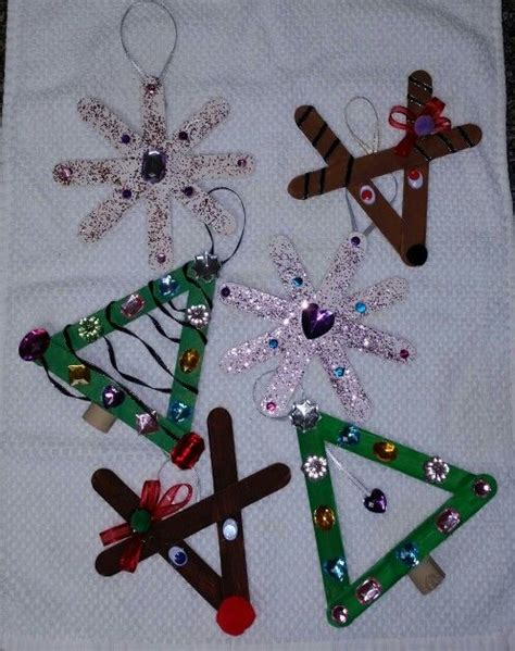 2nd grade ornaments diy popcicle stick crafts for tree reindeer snowflake everything