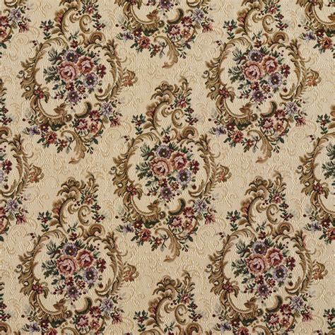flower pattern upholstery fabric ecru beige and red burgundy vintage floral victorian