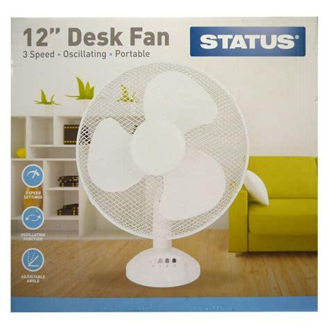 status 12 inch oscillating desk fan white 3 speed buy