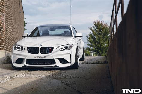 bmw slammed a slammed alpine white bmw m2 with carbon fiber goodies by