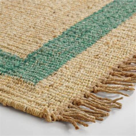 teal bordered woven jute area rug world market