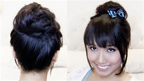 images of a messy bun with bang no hair out easy japanese messy high bun in 1 min faux clip on bangs