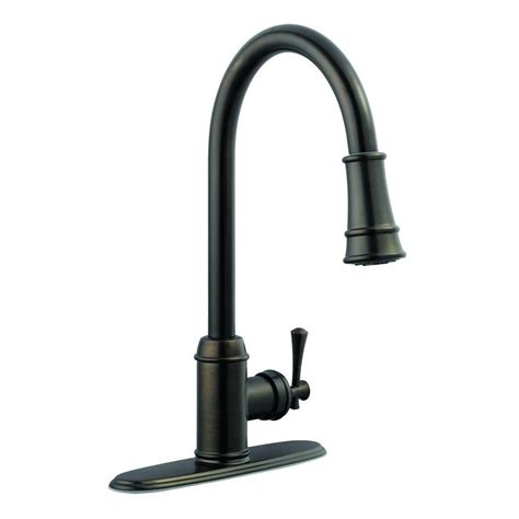 brushed bronze kitchen faucet design house ironwood single handle pull out sprayer kitchen faucet in brushed bronze 524728