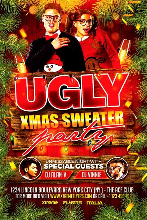 Ugly Christmas Sweater Party Flyer Template Xtremeflyers Sweater Flyer Template