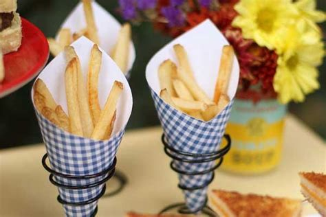 How To Make Paper Cones For Food - chic bridal shower menu idea mini comfort foods