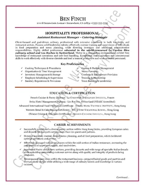 catering service manager resume