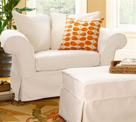 slipcover for chair and a half and ottoman charleston slipcovered chair and a half pottery barn