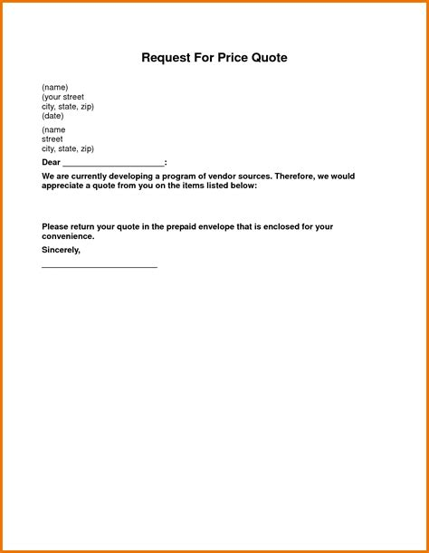 28 request for quotation letter template request