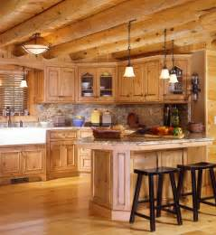Cabin Style Kitchen Cabinets Cabin Kitchens 171 Real Log Style