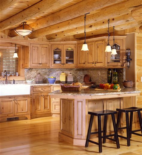 kitchen home cabin kitchens 171 real log style