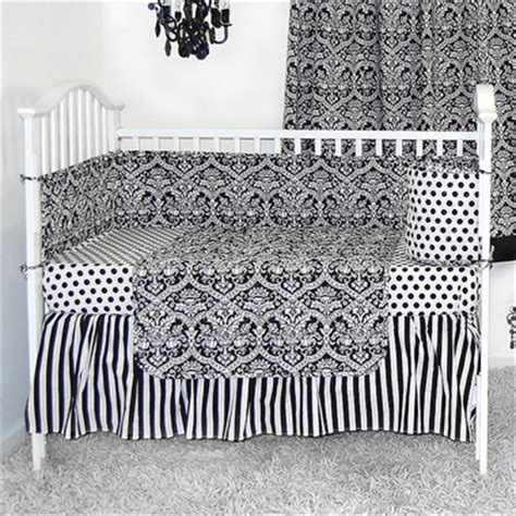Black And White Crib Bedding Set Sleeping Partners Damask Black And White 4 Baby Crib Bedding Set Free Shipping