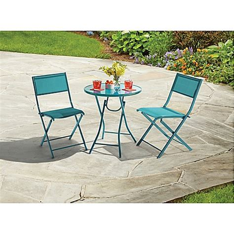 Destination Summer 3 Piece Folding Bistro Set In Teal Teal Outdoor Furniture