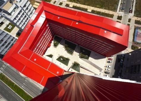 u shaped building bright red u shaped salburua social housing sells excess