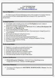 Resume Format For Software Tester by Software Test Engineer Resume Format