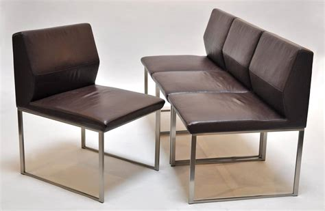 Stainless Steel Chairs For Sale by Stainless Steel Table With Four Leather And Steel Chairs For Sale At 1stdibs