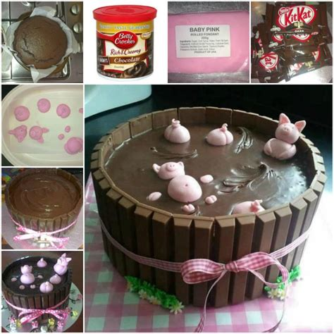 how to diy adorable happy pig in mud cake