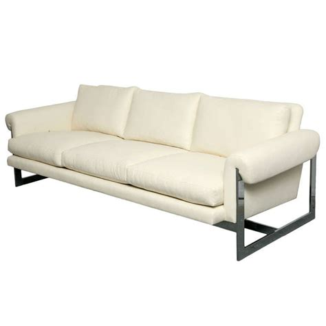 White Leather Sofa For Sale White Leather Sofa With Chromed Metal Frame For Sale At 1stdibs