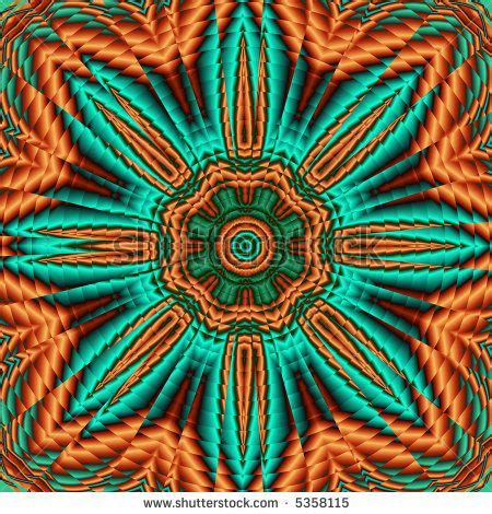 southwestern colors flower mandala in southwest colors of orange and turquoise