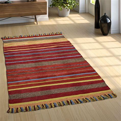 gekleurd kleed geweven vloerkleed kelim gestreept gekleurd tapijt tapijt