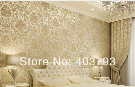 Living Room Ideas Gold Wallpaper Simple European Style Of Damascus Environmental Protection
