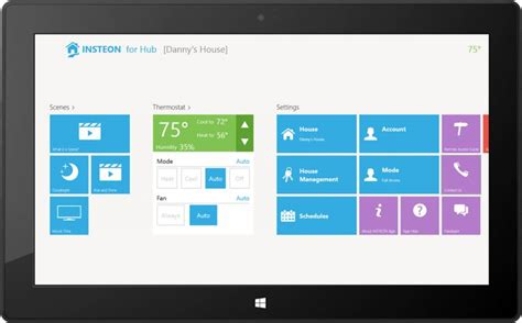 insteon for hub windows 8 1 app home dashboard ui