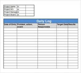 Work Log Excel Template by Sle Daily Log Template 15 Free Documents In Pdf Word