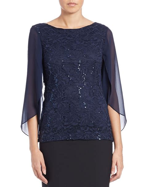Anina Blouse Navy lyst marina sequin lace top in blue