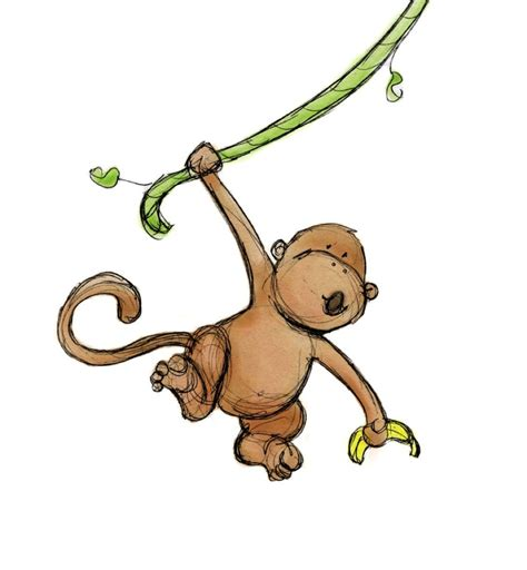 monkey swing items similar to nursery wall art monkey swinging 5x7