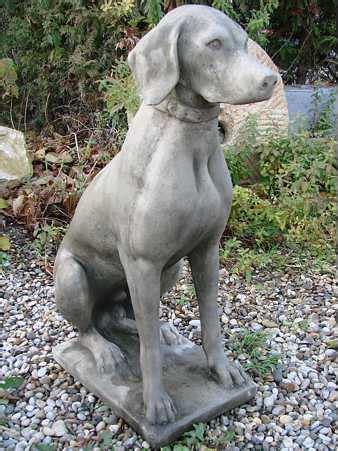 garten ideen hunde jagdhund pointer steinfigur gartenfigur gartendeko