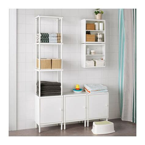 Dynan Shelving Unit With 3 Cabinets White Shelves Small Bathroom Shelving Unit