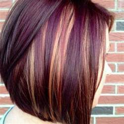 and burgundy high and low lights for hairstyles cute short hair cut with purple and blonde highlights